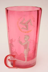 Mary Gregory cranberry glass Manx tumbler