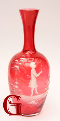 cranberry Mary Gregory vase