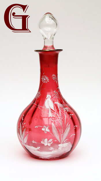 cranberry glass Mary Gregory decanter bird