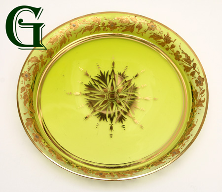 green glass plate gilded