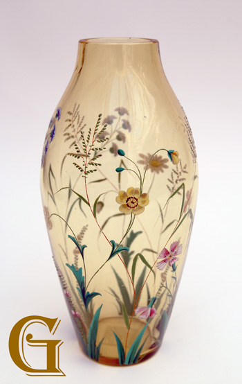 glass vase with enamel flowers
