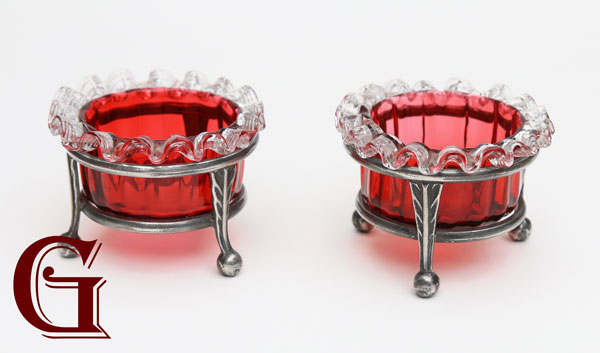 Cranberry salts with crystal frill britannia metal stands