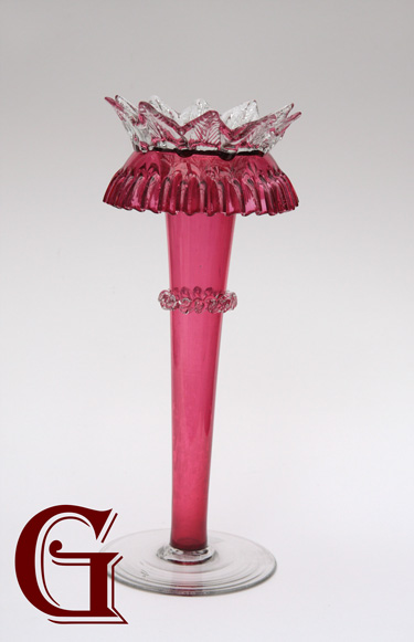 CRANBERRY GLASS VASE CRYSTAL FRILL