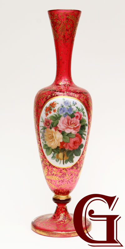 CRANBERRY GLASS VASE paintel enamel plaque