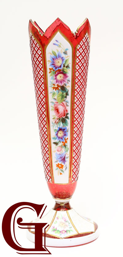 CRANBERRY GLASS VASE paintel enamel panel