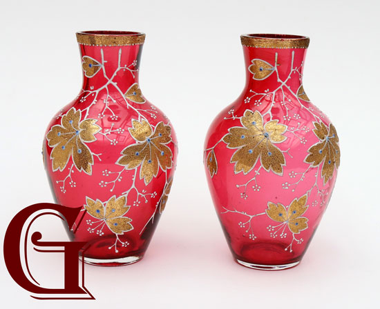 PAIR MINI CRANBERRY GLASS VASES ENAMEL DECORATION