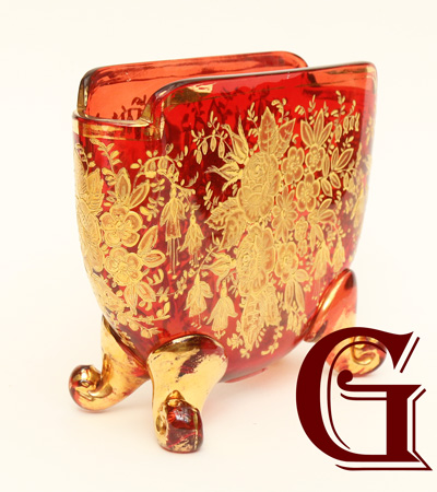 CRANBERRY GLASS MINIATURE VASE MOSER
