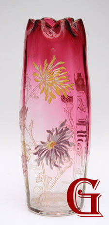 A LARGE MOSER FLORAL ENAMELLED SHADED CRANBERRY VASE