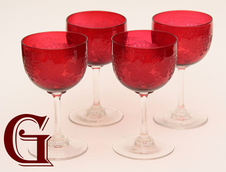 grape and vine engraved cranberry wine glasses